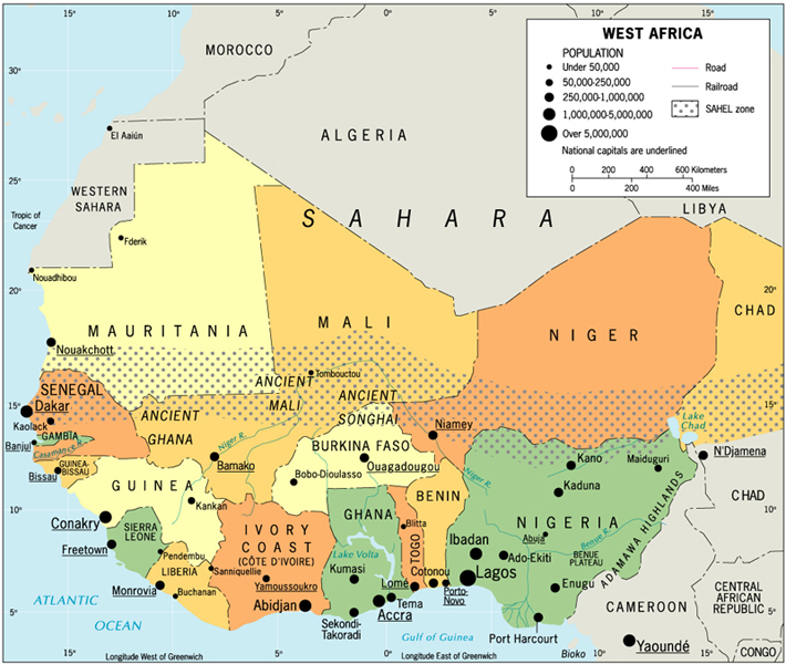 Africa map capitals west africa map capitals ccuart Image collections